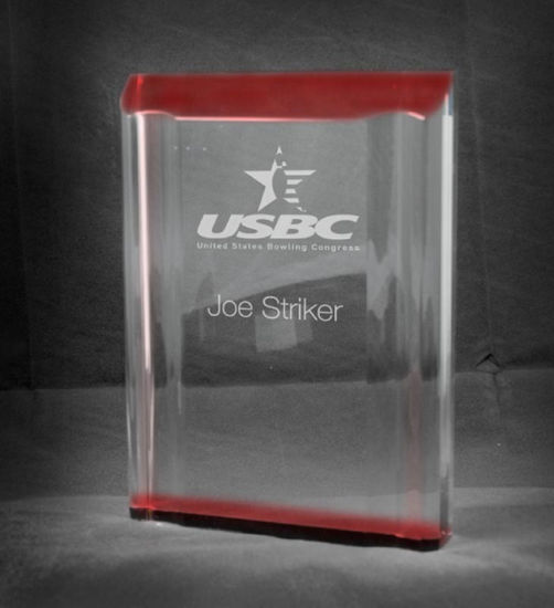 """Picture of Freestanding Red Acrylic Channel Award (5""""W x 7""""H)"""